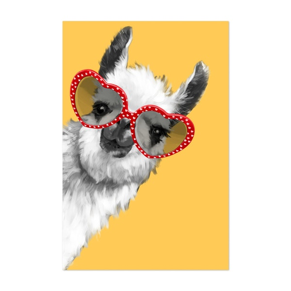 Fashion Hipster Llama With Glasses by Big Nose Work