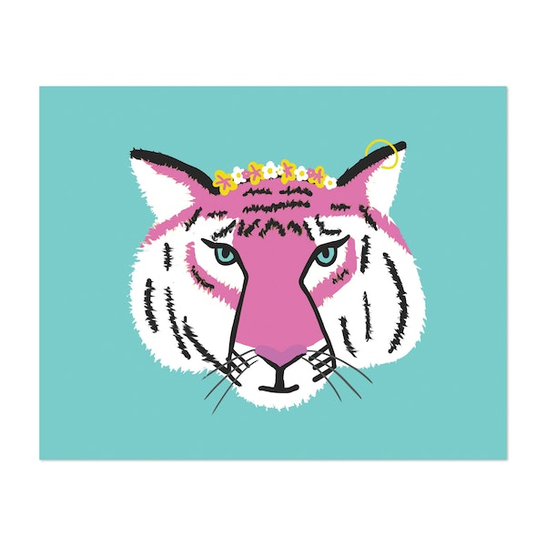 Flower Crown Tiger Illustration by 12 Past 7 Designs by Kait Cole
