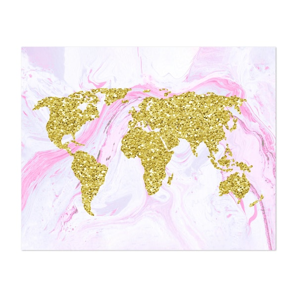 Gold Glitter World Map on Marble by Julie Erin Designs