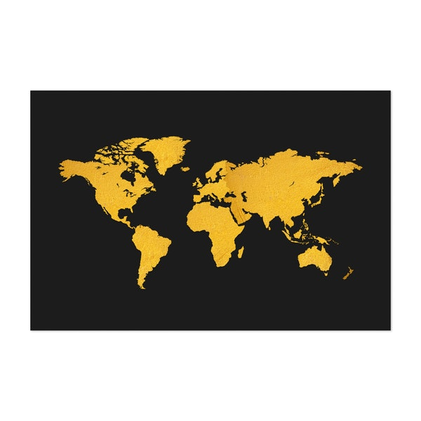 Golden Texture World Map on Black Background by Art Design Works