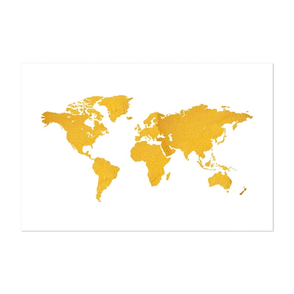 Golden Texture World Map on White Background by Art Design Works