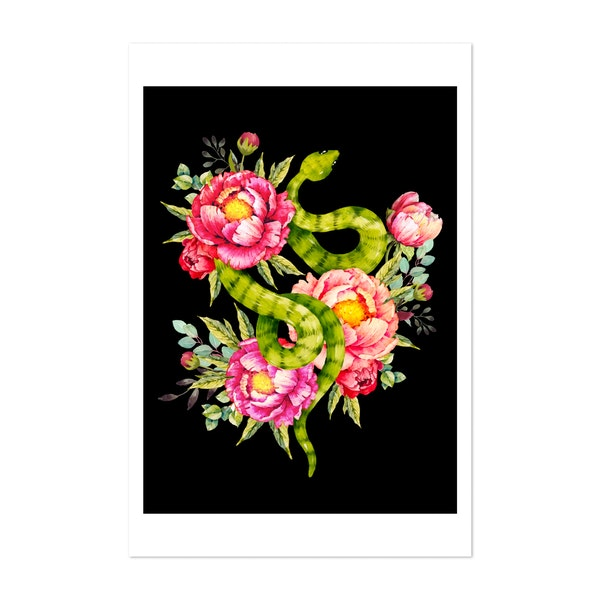 Peony Blossoms, Buds And A Green Garden Snake by Bani Kinnison