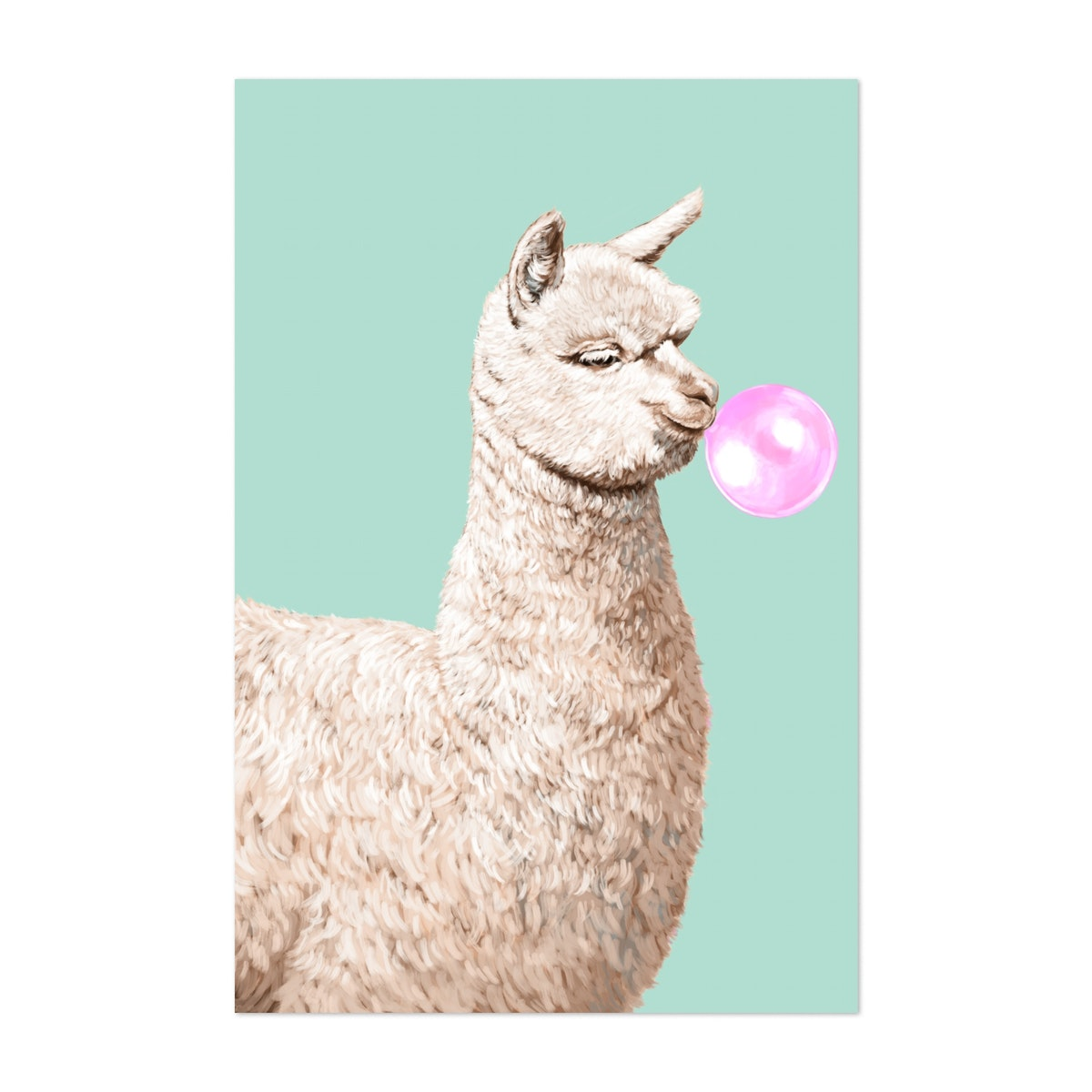 Playful Alpaca Chewing Bubble Gum In Green