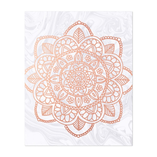 Rose Gold Mandala on White Marble by Julie Erin Designs