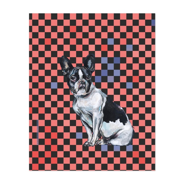 French Bulldog on Red & Blue by FanitsaArt