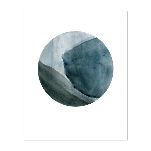 Full moon Blue by Nouveau Prints