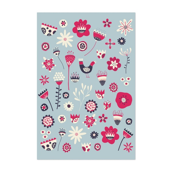 Spring Folk Floral Blue by Nic Squirrell