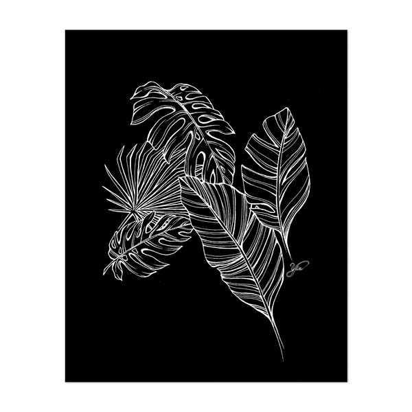 Tropical Leaves In Black by Yin Creative Studio