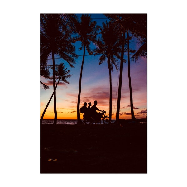 Human and Coconut Trees Silhouettes During Sunrise by AJ Buenavista