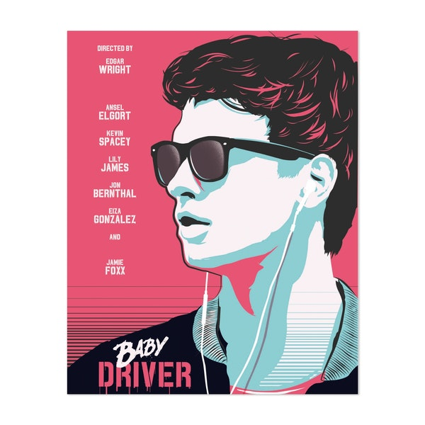 Baby Driver Movie Poster by Golden Planet Prints