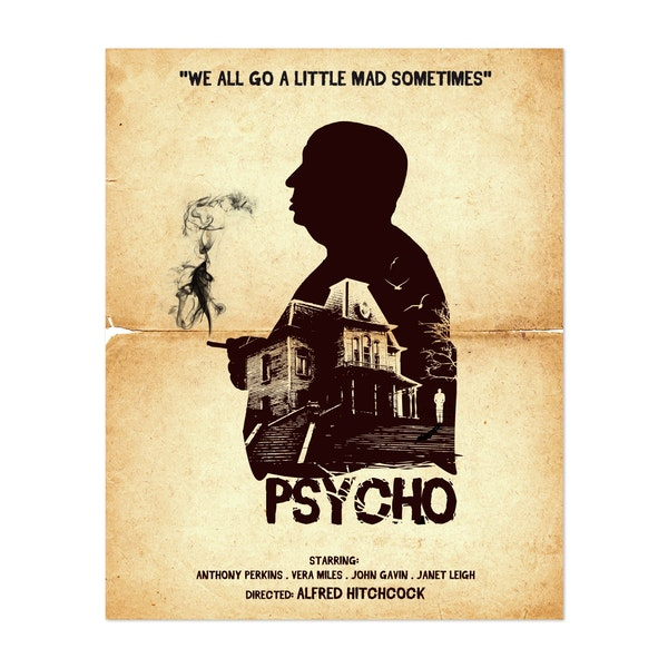 Hitchcock Psycho Movie Poster by Golden Planet Prints