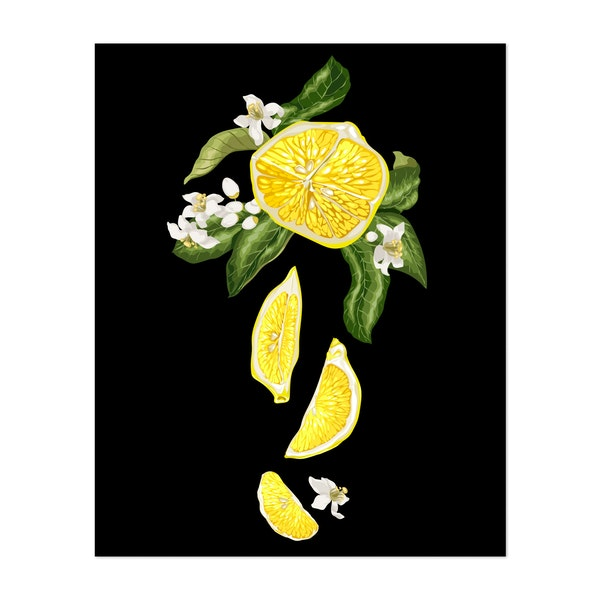 Illustration of a lemon with fruit pieces and flowers by Yulia Fushtey