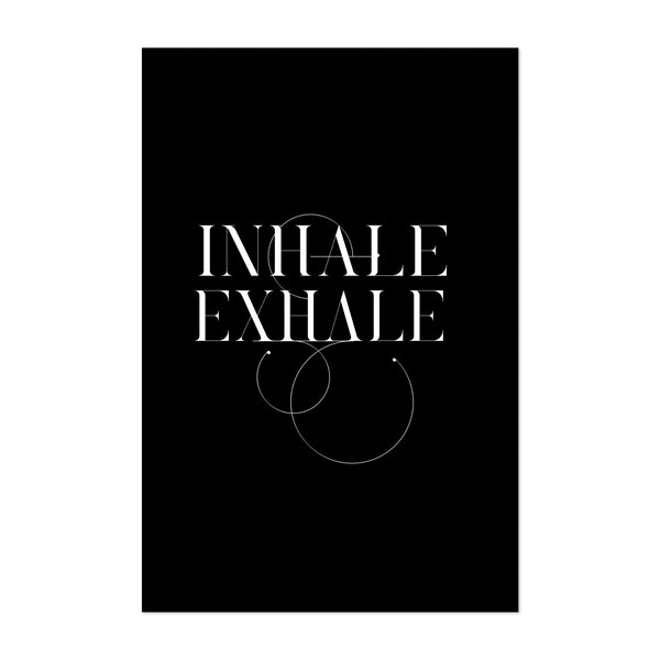 Typo Inhale Exhale Black by Andrea Haase