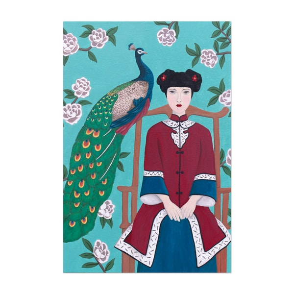 Chinese Woman And Peacock by Sally B