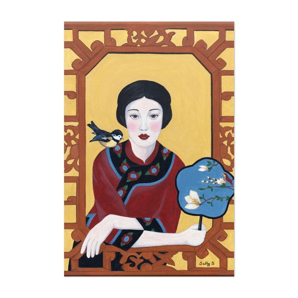 Chinese Woman With A Fan And Bird by Sally B