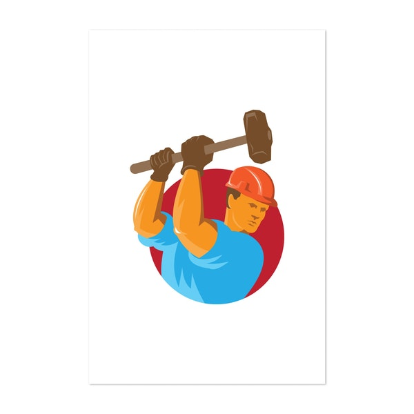 Construction Worker With Sledgehammer by Patrimonio Designs Limited