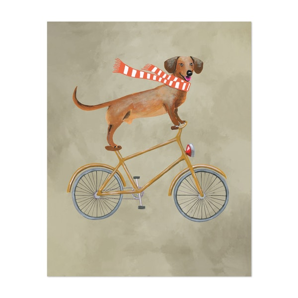 Dachshund On Bicycle With Scarf by Coco de Paris