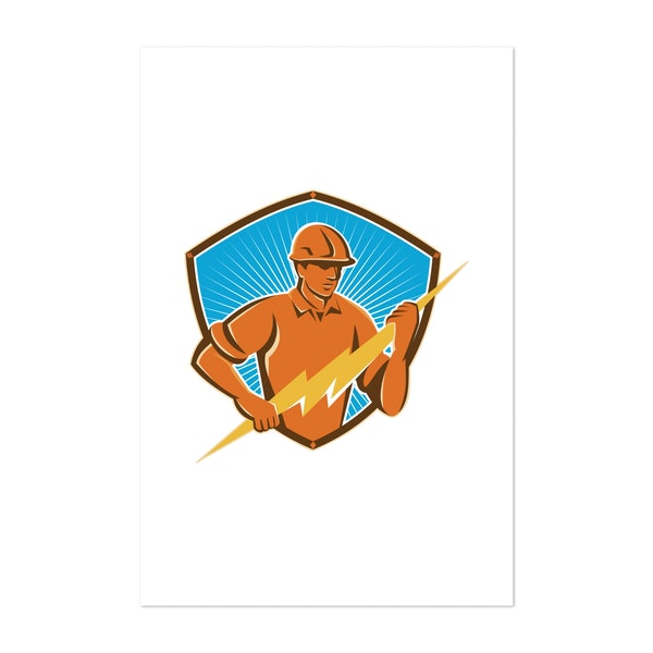 Electrician Construction Worker Retro by Patrimonio Designs Limited