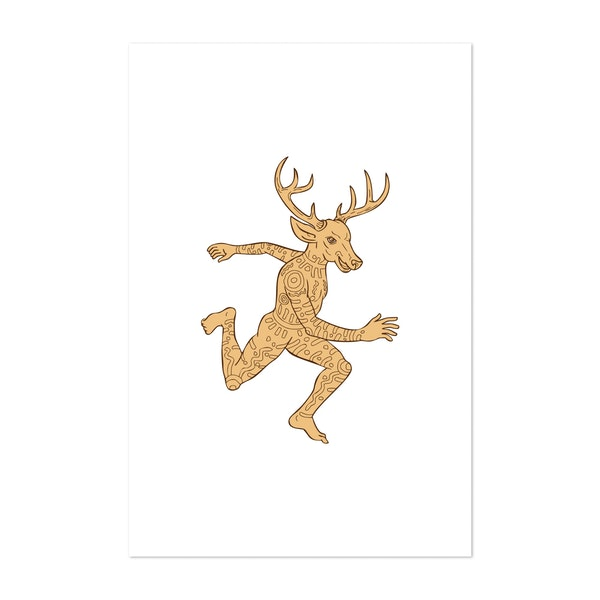 Half Man Half Deer With Tattoos Running by Patrimonio Designs Limited