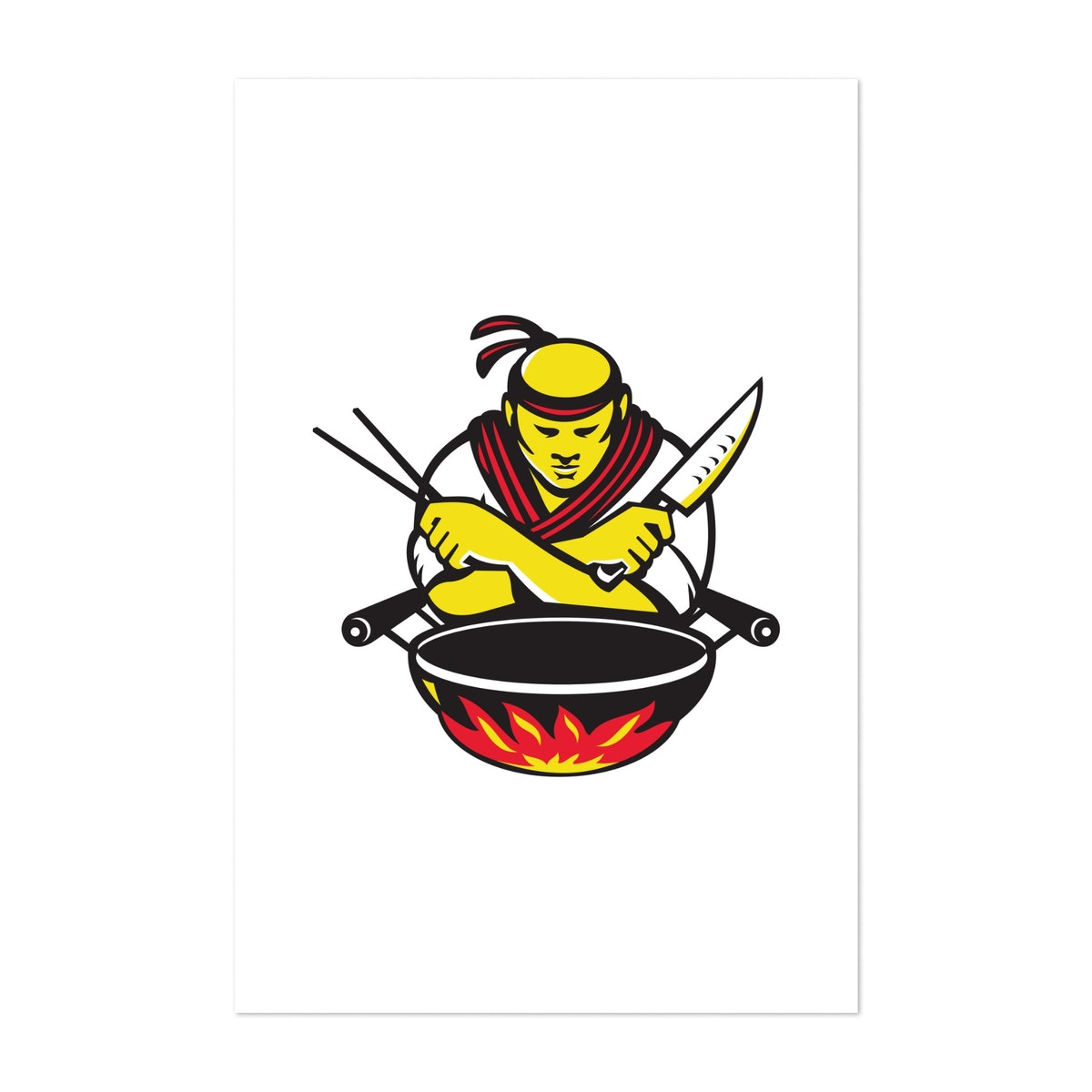 Japanese Cook Chef With Knife Wok