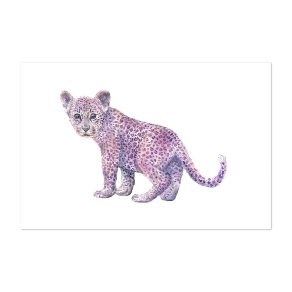 Lilac and Light Pink Leopard by Wandering Laur Fine Art