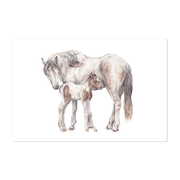 Mama and Foal by Wandering Laur Fine Art
