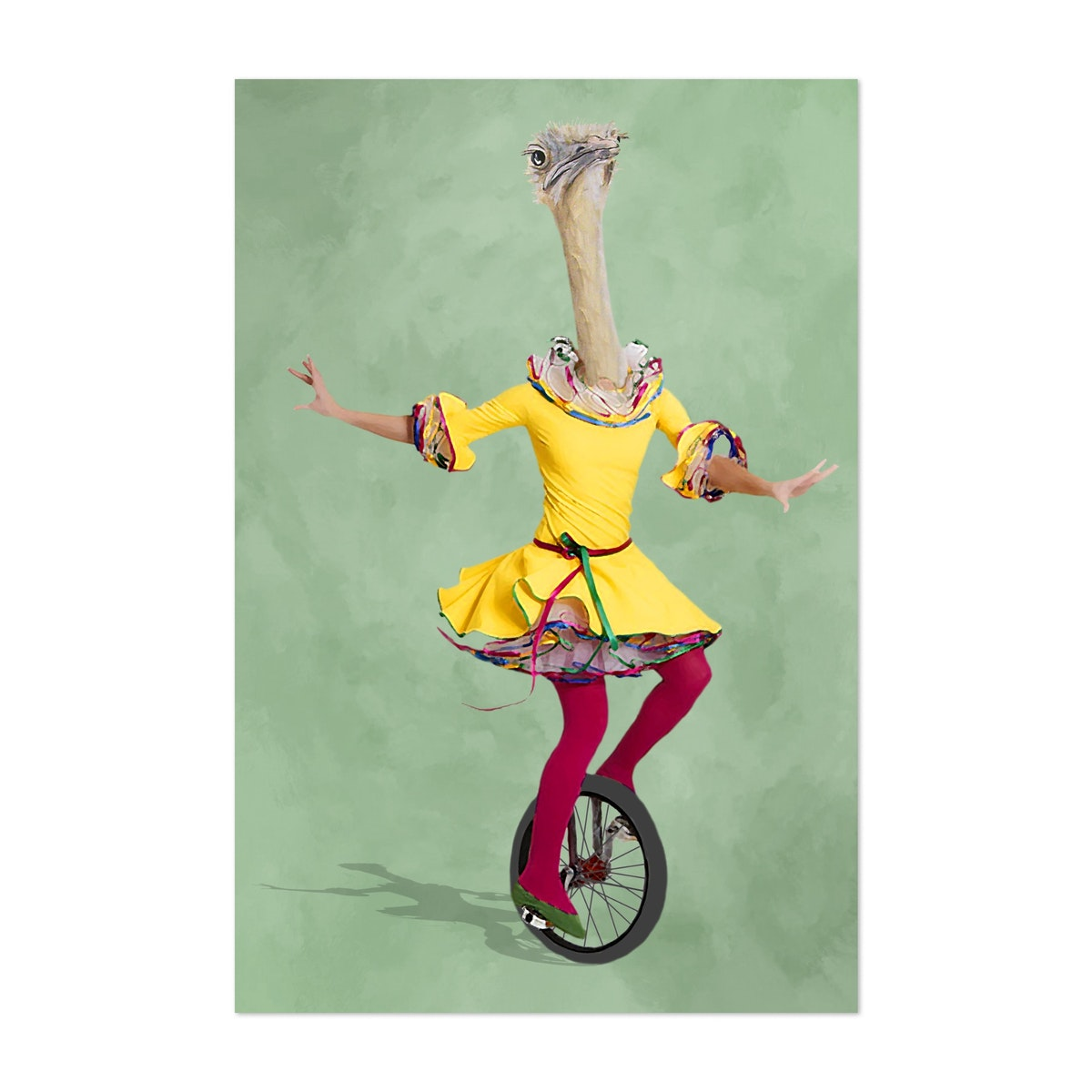 Ostrich With Monocycle