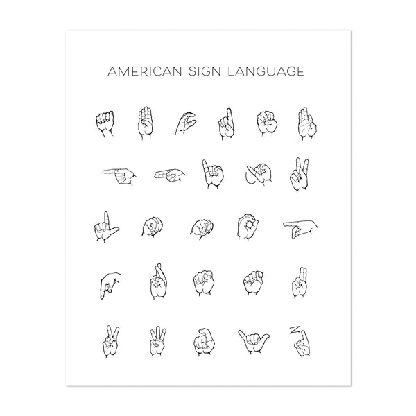American Sign Language Chart by Typologie Paper Co