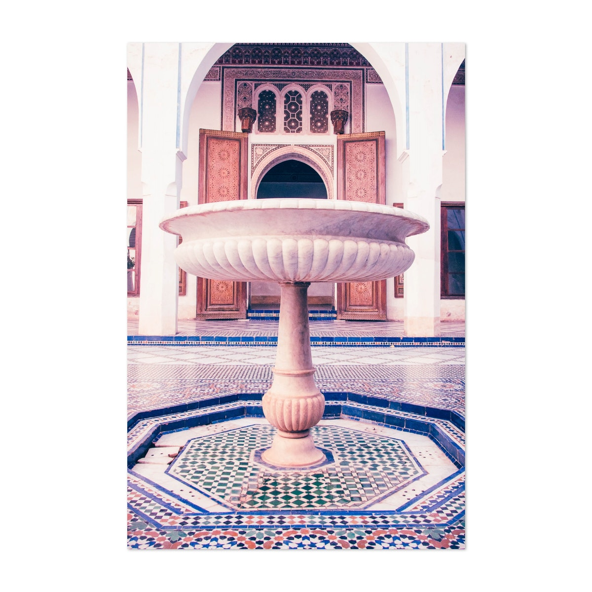 Fountain in a Tiled Moroccan Courtyard