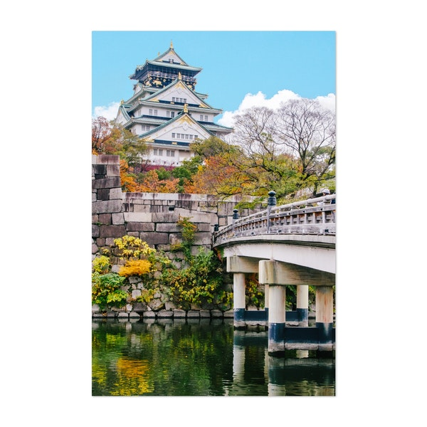 Osaka Castle and Bridge in Fall by Sidecar Photo