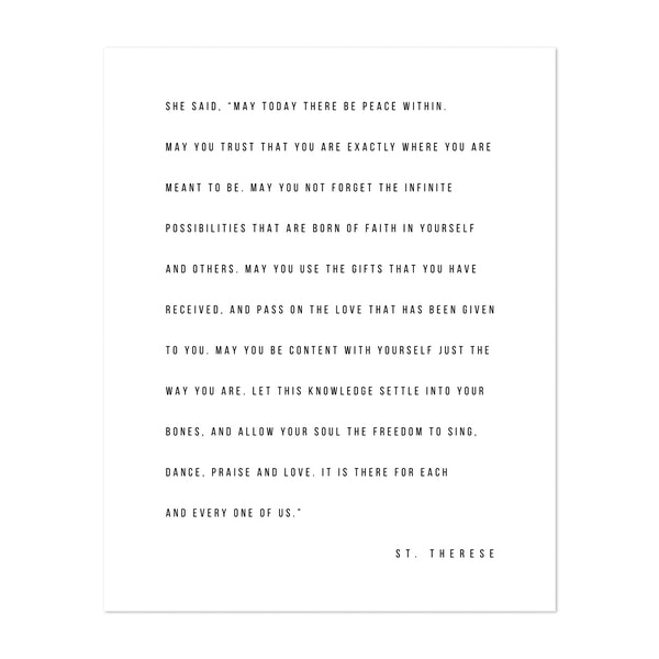 """She Said, 'May Today There be Peace Within..."""" -St. Therese Quote by Typologie Paper Co"""
