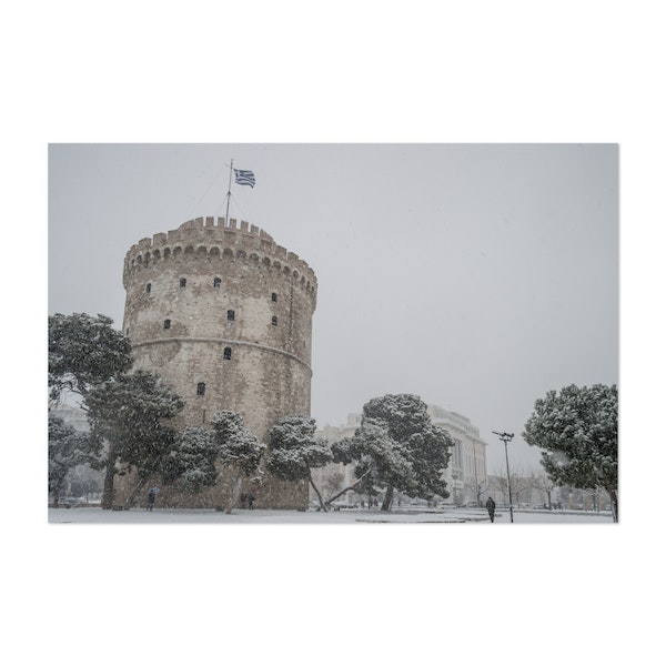 Snow at the White Tower of Thessaloniki - south side by Christos Karydis