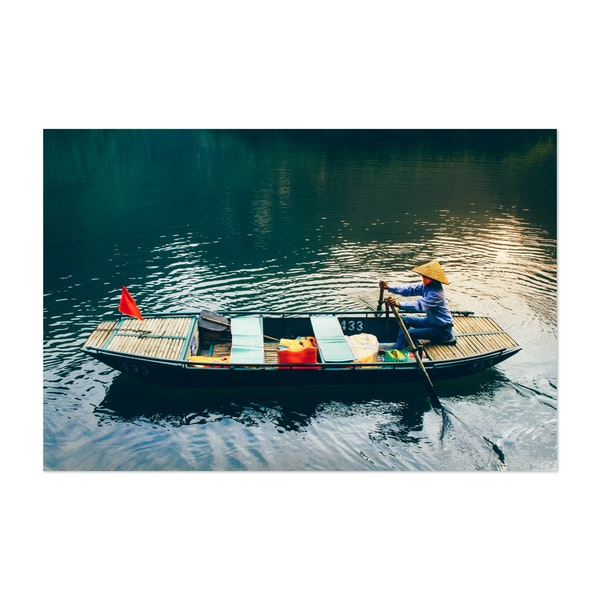 Vietnamese Lady Rows a Boat by Sidecar Photo