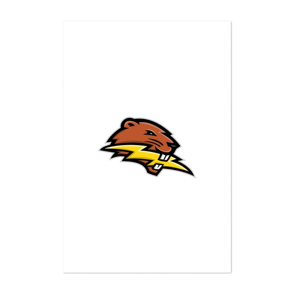 North American Beaver Lightning Bolt Mascot by Patrimonio Designs Limited