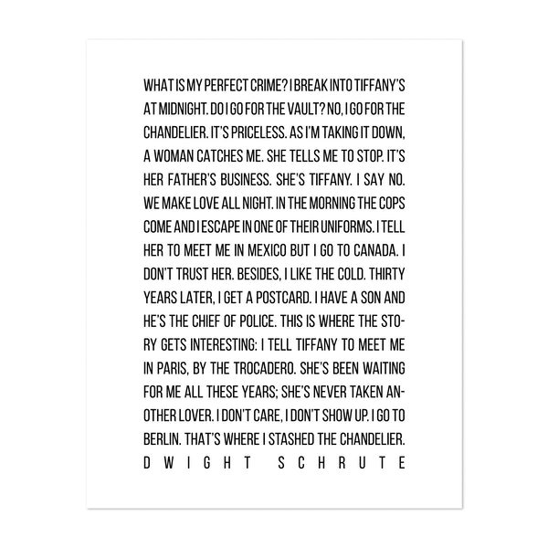 My Perfect Crime by Dwight Schrute The Office by Typologie Paper Co