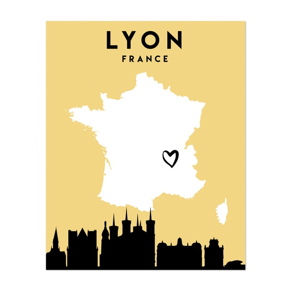 Lyon France Heart City Map by Emiliano Deificus