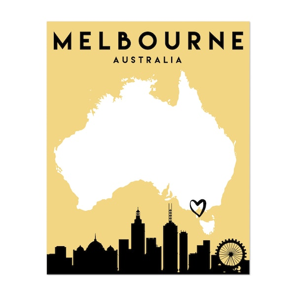Melbourne Australia Heart City Map by Emiliano Deificus
