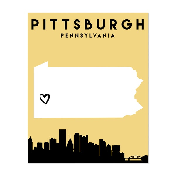 Pittsburgh Pennsylvania Heart City Map by Emiliano Deificus