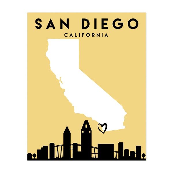 San Diego California Heart City Map by Emiliano Deificus