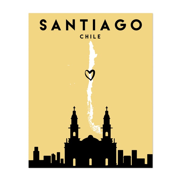 Santiago de Chile Heart City Map by Emiliano Deificus