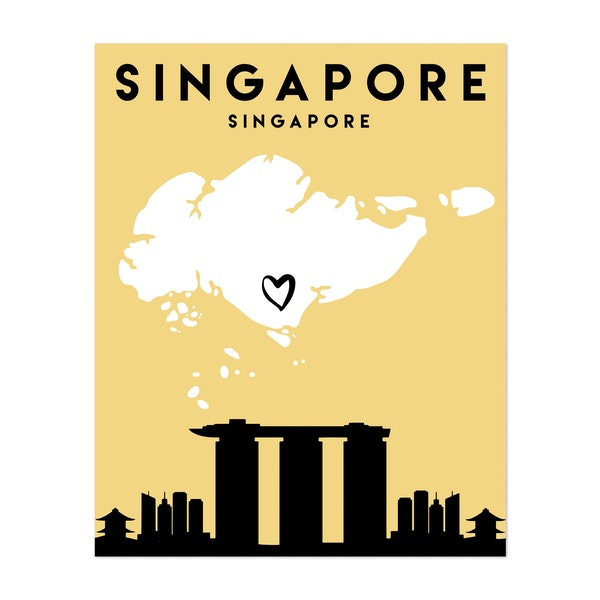 Singapore Heart City Map by Emiliano Deificus