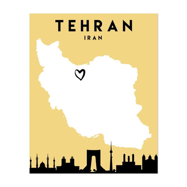 Tehran Iran Heart City Map by Emiliano Deificus