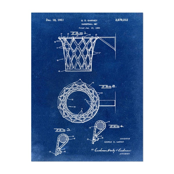 Basketball net, 1950-Blue I by Bill Cannon