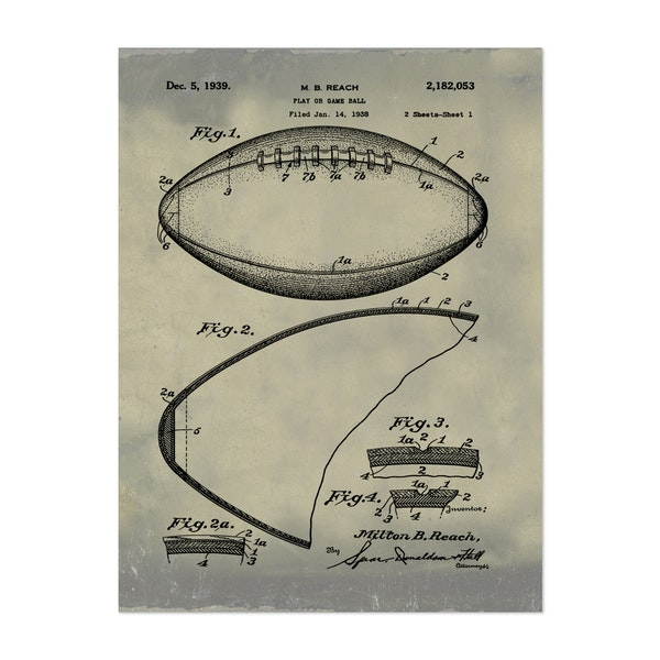 Football, 1938-Antique II by Bill Cannon
