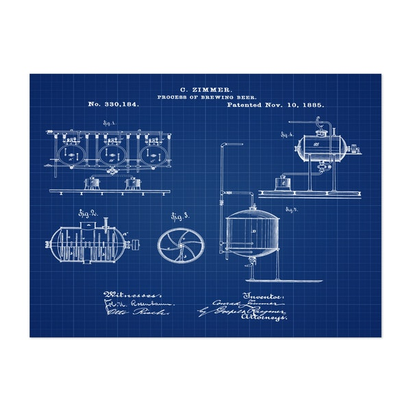 Brewing Process 1885 Blueprint by Bill Cannon
