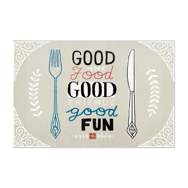 Good Food Friends Fun Horizontal by Oliver Towne