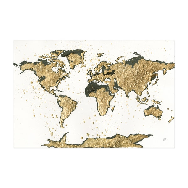 World Map Gold Leaf by Chris Paschke