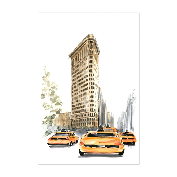 Flatiron Building and Yellow Taxis Watercolor Sketch by blursbyai