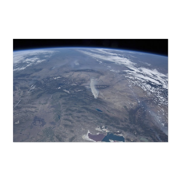 View from space of the wild fires in the western and southwestern United States. by Stocktrek Images