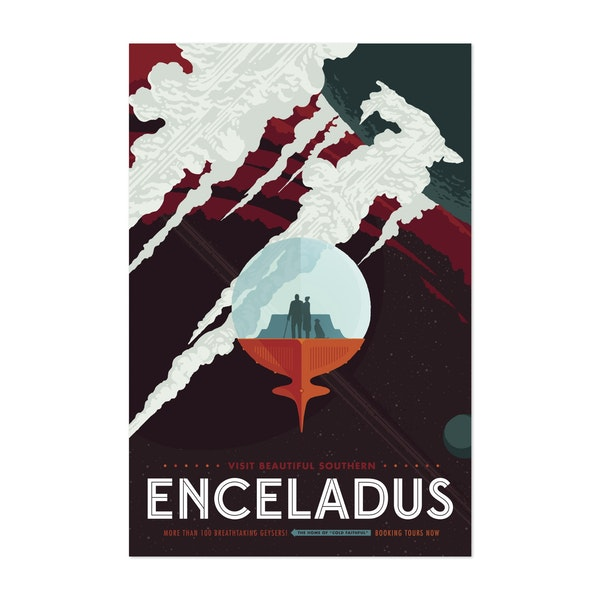 Retro space travel poster of Enceladus' icy jets and the Cassini mission to Saturn. by Stocktrek Images